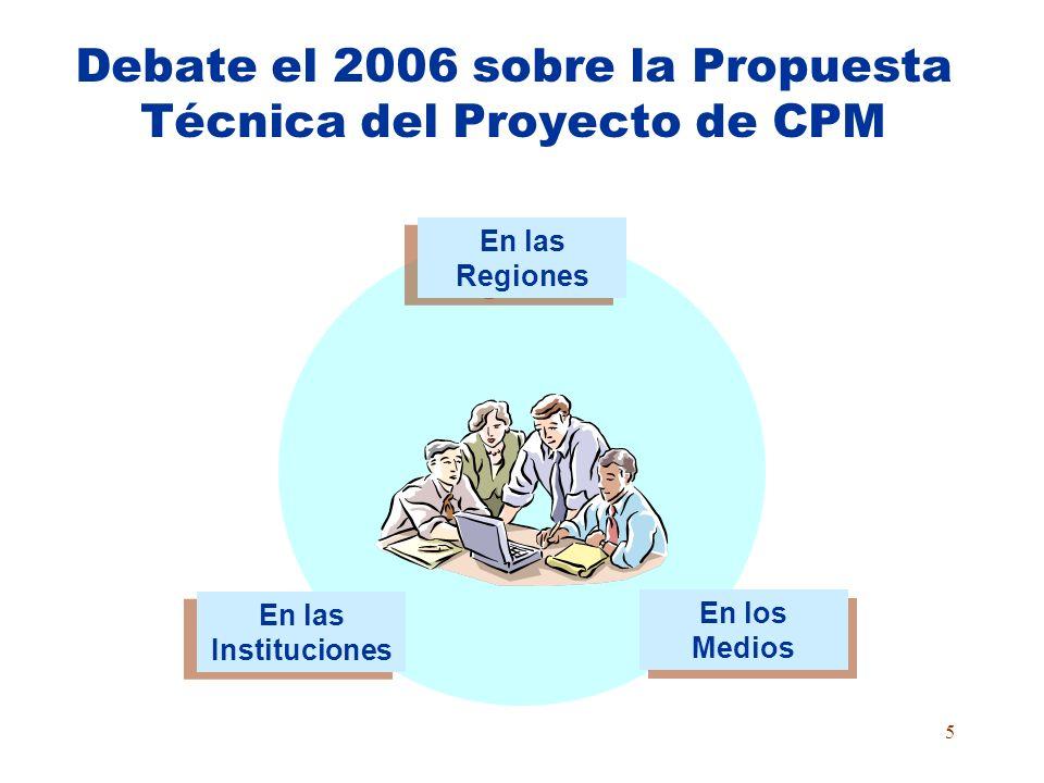 5 Debate el 2006 sobre la Propuesta Técnica del Proyecto de CPM En las Instituciones En las Instituciones En las Regiones En las Regiones En los Medios En los Medios
