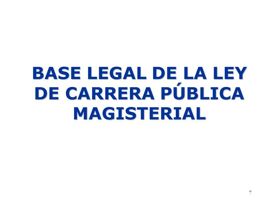 7 BASE LEGAL DE LA LEY DE CARRERA PÚBLICA MAGISTERIAL