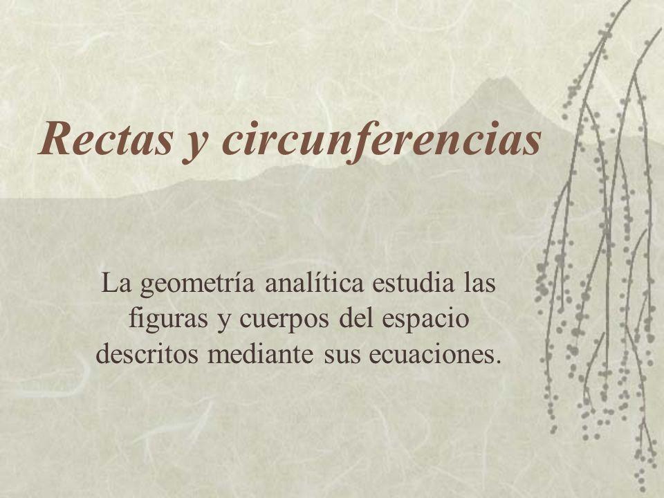 Rectas y circunferencias La geometría analítica estudia las figuras y cuerpos del espacio descritos mediante sus ecuaciones.