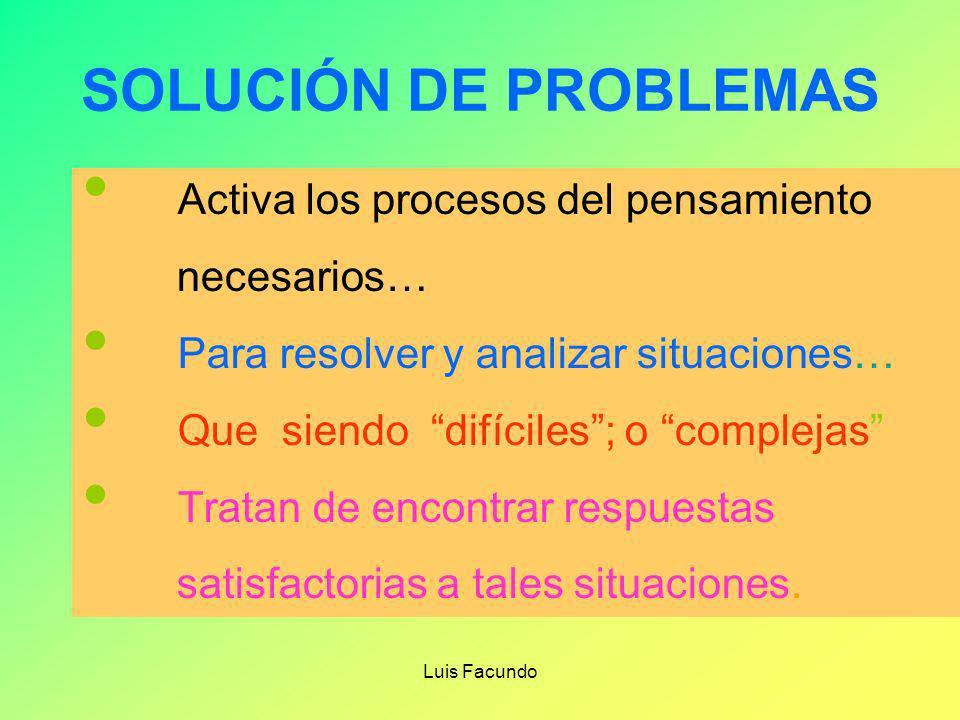Luis Facundo TOMA DE DECISIONES 1.- DEFINO LA META 2.- IDENTIFICO LOS OBSTÀCULOS PARA LOGRAR LA META 3.- DEFINO LAS ALTERNATIVAS 4.- LAS ORDENO 5.- EL