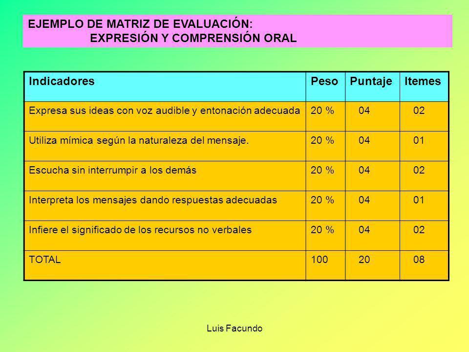 Luis Facundo PRECISIONES SOBRE LA MATRIZ DE EVALUACIÓN 1.- Permite dar explicaciones sobre el porqué de los calificativos de los estudiantes 2.- Se el