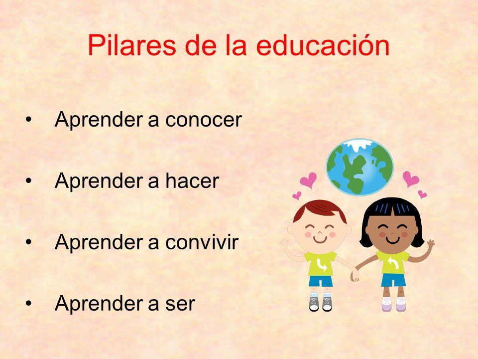 Aprender a conocer Aprender a hacer Aprender a convivir Aprender a ser Pilares de la educación