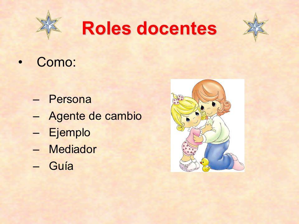 Roles docentes Como: – Persona – Agente de cambio – Ejemplo – Mediador – Guía