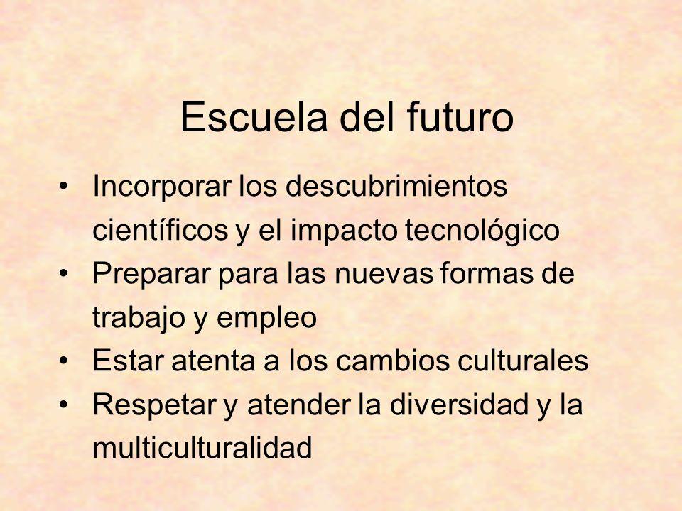 Escuela del futuro Incorporar los descubrimientos científicos y el impacto tecnológico Preparar para las nuevas formas de trabajo y empleo Estar atenta a los cambios culturales Respetar y atender la diversidad y la multiculturalidad