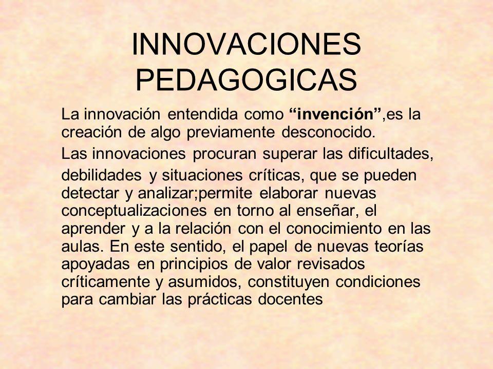 INNOVACIONES PEDAGOGICAS La innovación entendida como invención,es la creación de algo previamente desconocido. Las innovaciones procuran superar las