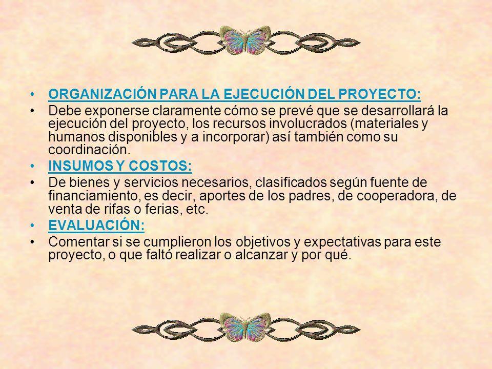 ORGANIZACIÓN PARA LA EJECUCIÓN DEL PROYECTO: Debe exponerse claramente cómo se prevé que se desarrollará la ejecución del proyecto, los recursos invol