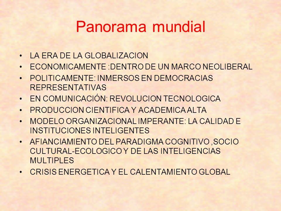 Panorama mundial LA ERA DE LA GLOBALIZACION ECONOMICAMENTE :DENTRO DE UN MARCO NEOLIBERAL POLITICAMENTE: INMERSOS EN DEMOCRACIAS REPRESENTATIVAS EN COMUNICACIÓN: REVOLUCION TECNOLOGICA PRODUCCION CIENTIFICA Y ACADEMICA ALTA MODELO ORGANIZACIONAL IMPERANTE: LA CALIDAD E INSTITUCIONES INTELIGENTES AFIANCIAMIENTO DEL PARADIGMA COGNITIVO,SOCIO CULTURAL-ECOLOGICO Y DE LAS INTELIGENCIAS MULTIPLES CRISIS ENERGETICA Y EL CALENTAMIENTO GLOBAL