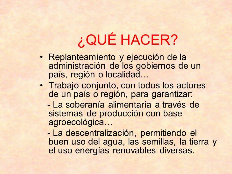 ¿QUÉ HACER? Replanteamiento y ejecución de la administración de los gobiernos de un país, región o localidad… Trabajo conjunto, con todos los actores