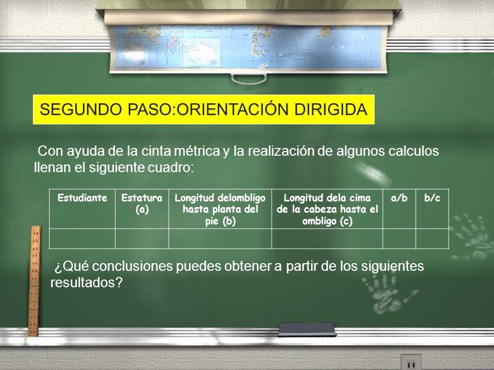 SEGUNDO PASO:ORIENTACIÓN DIRIGIDA Con ayuda de la cinta métrica y la realización de algunos calculos llenan el siguiente cuadro: EstudianteEstatura (a