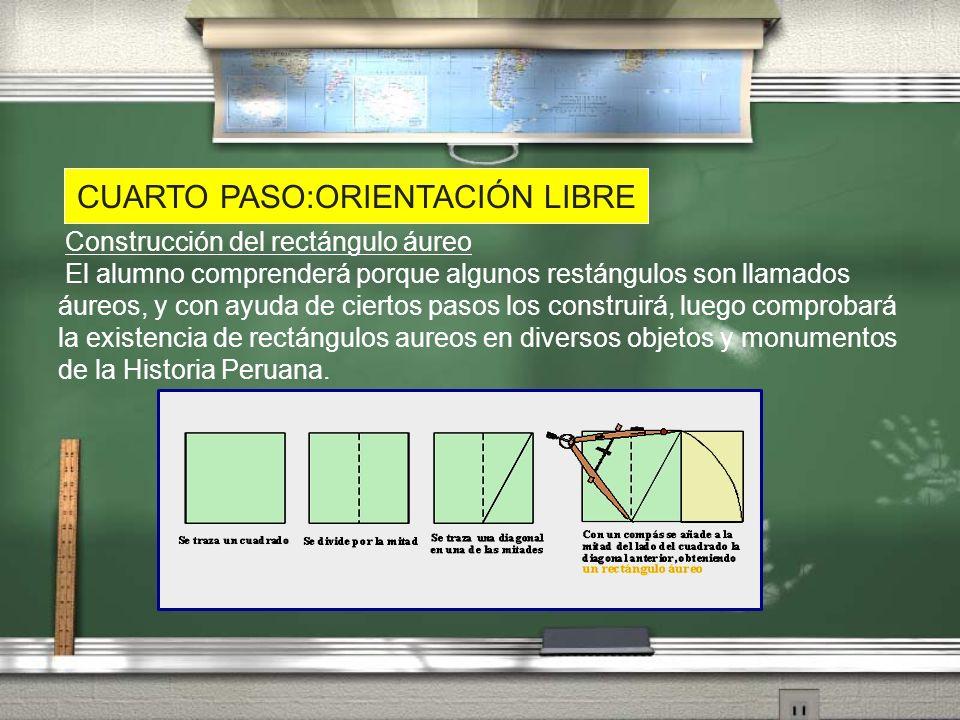 CUARTO PASO:ORIENTACIÓN LIBRE Construcción del rectángulo áureo El alumno comprenderá porque algunos restángulos son llamados áureos, y con ayuda de c