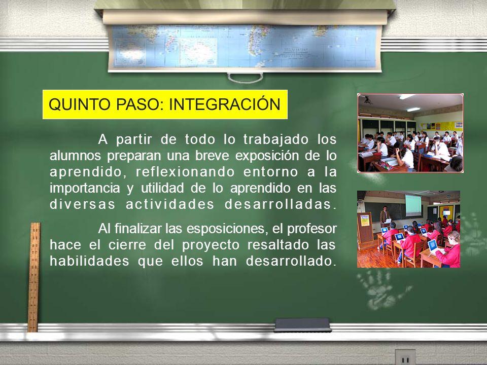 QUINTO PASO: INTEGRACIÓN A partir de todo lo trabajado los alumnos preparan una breve exposición de lo aprendido, reflexionando entorno a la importanc
