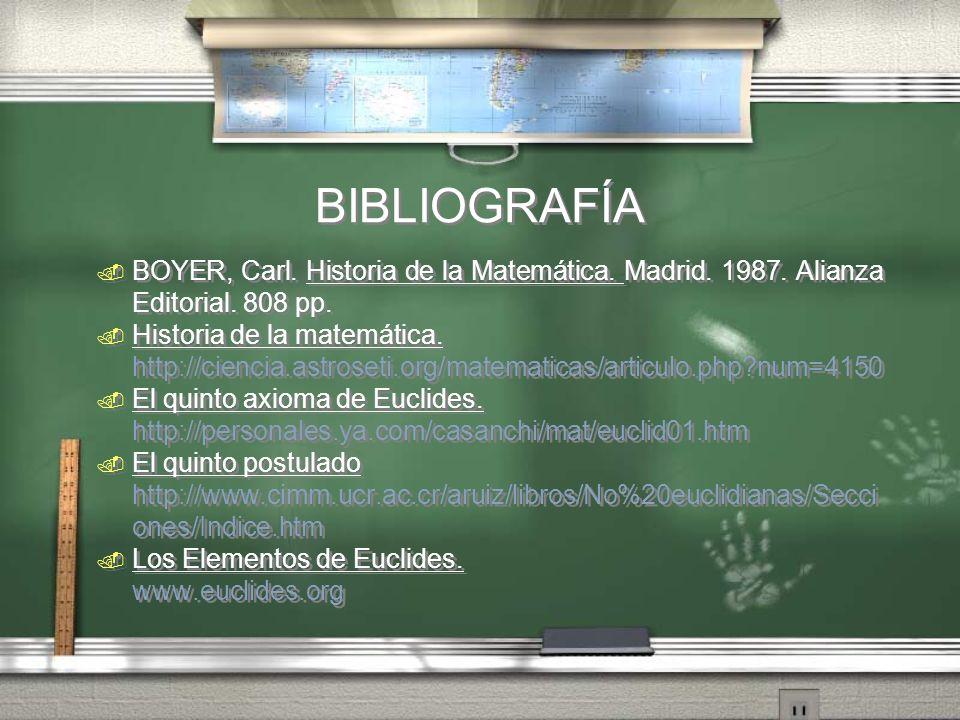 BIBLIOGRAFÍA. BOYER, Carl. Historia de la Matemática. Madrid. 1987. Alianza Editorial. 808 pp.. Historia de la matemática. http://ciencia.astroseti.or