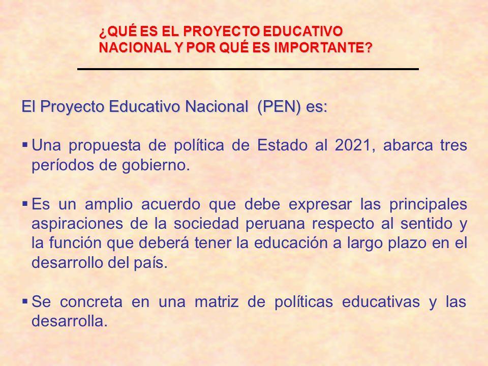 ¿QUÉ ES EL PROYECTO EDUCATIVO NACIONAL Y POR QUÉ ES IMPORTANTE? El Proyecto Educativo Nacional (PEN) es: Una propuesta de política de Estado al 2021,