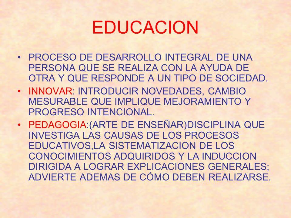 EDUCACION PROCESO DE DESARROLLO INTEGRAL DE UNA PERSONA QUE SE REALIZA CON LA AYUDA DE OTRA Y QUE RESPONDE A UN TIPO DE SOCIEDAD. INNOVAR: INTRODUCIR