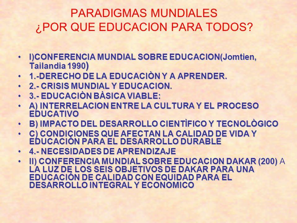 PARADIGMAS MUNDIALES ¿POR QUE EDUCACION PARA TODOS? I)CONFERENCIA MUNDIAL SOBRE EDUCACION(Jomtien, Tailandia 1990 )I)CONFERENCIA MUNDIAL SOBRE EDUCACI