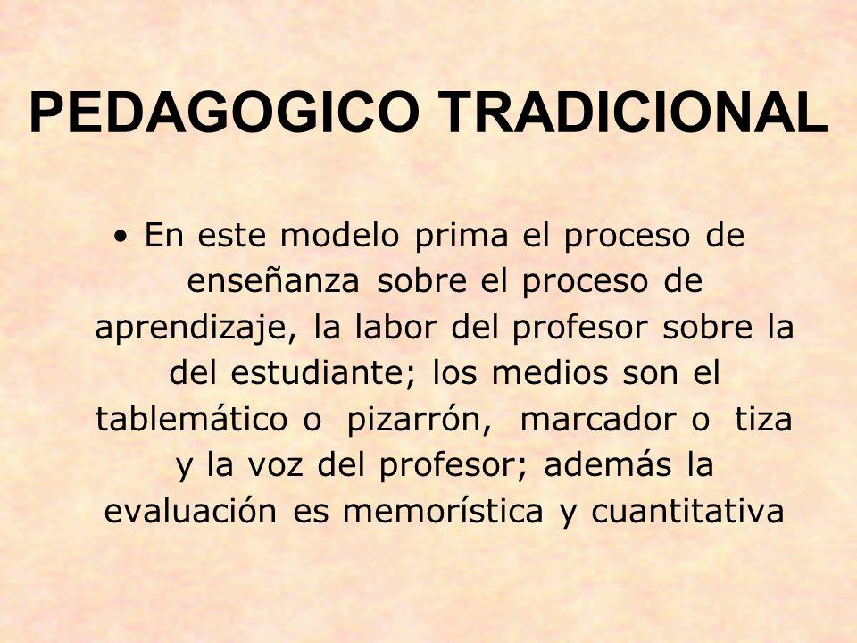 PEDAGOGICO TRADICIONAL En este modelo prima el proceso de enseñanza sobre el proceso de aprendizaje, la labor del profesor sobre la del estudiante; lo