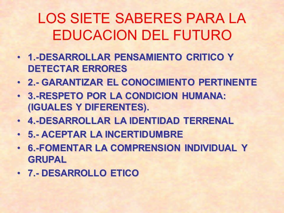 LOS SIETE SABERES PARA LA EDUCACION DEL FUTURO 1.-DESARROLLAR PENSAMIENTO CRITICO Y DETECTAR ERRORES1.-DESARROLLAR PENSAMIENTO CRITICO Y DETECTAR ERRO