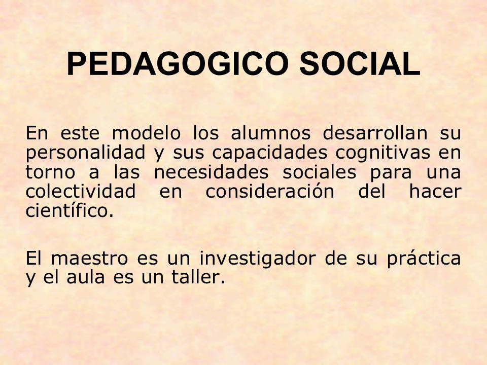PEDAGOGICO SOCIAL En este modelo los alumnos desarrollan su personalidad y sus capacidades cognitivas en torno a las necesidades sociales para una col
