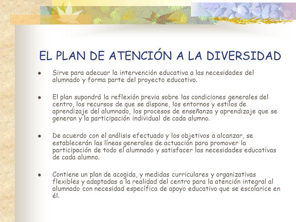 EL PLAN DE ATENCIÓN A LA DIVERSIDAD Sirve para adecuar la intervención educativa a las necesidades del alumnado y forma parte del proyecto educativo.