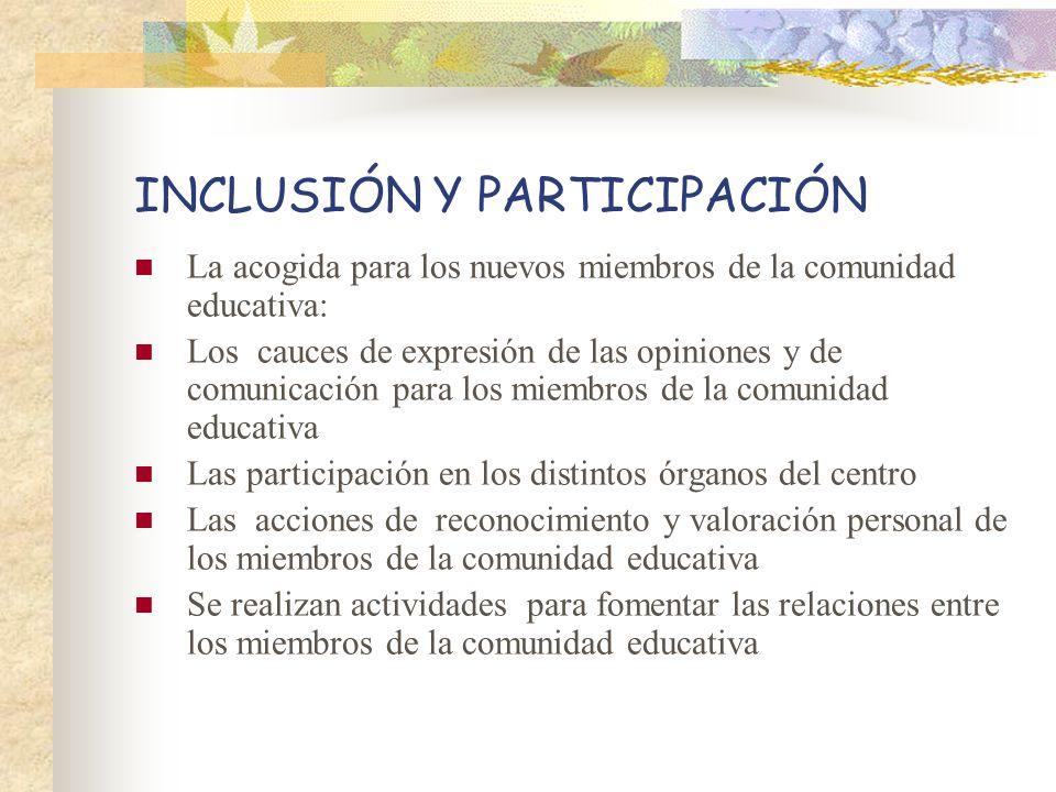 INCLUSIÓN Y PARTICIPACIÓN La acogida para los nuevos miembros de la comunidad educativa: Los cauces de expresión de las opiniones y de comunicación pa