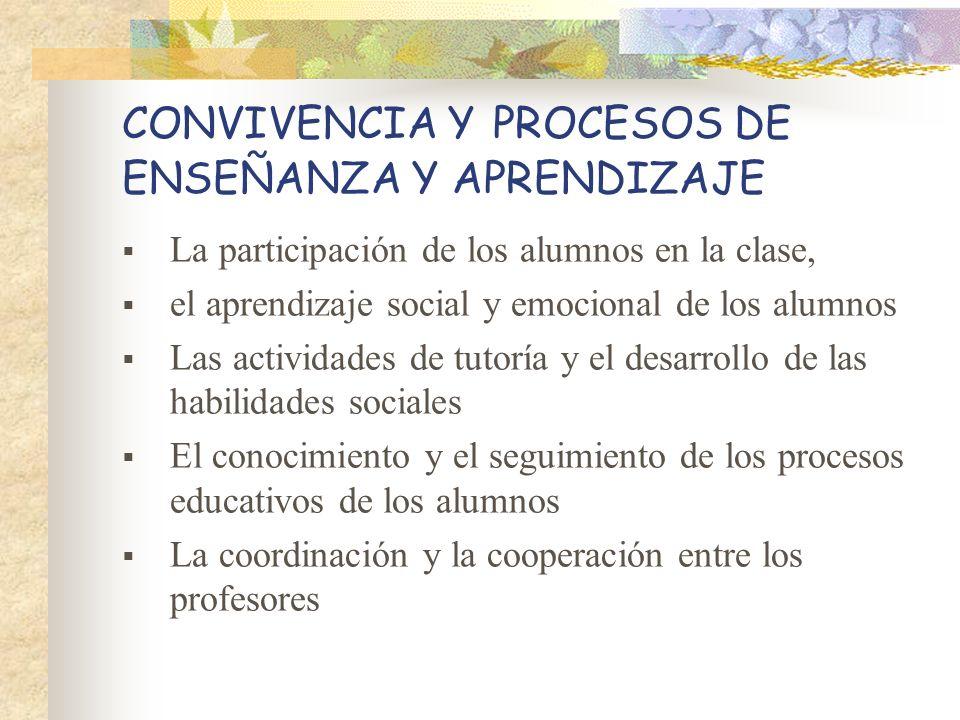 CONVIVENCIA Y PROCESOS DE ENSEÑANZA Y APRENDIZAJE La participación de los alumnos en la clase, el aprendizaje social y emocional de los alumnos Las ac