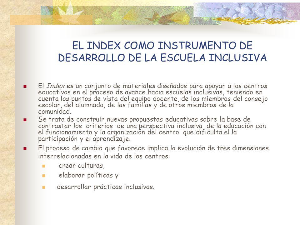 EL INDEX COMO INSTRUMENTO DE DESARROLLO DE LA ESCUELA INCLUSIVA El Index es un conjunto de materiales diseñados para apoyar a los centros educativos e