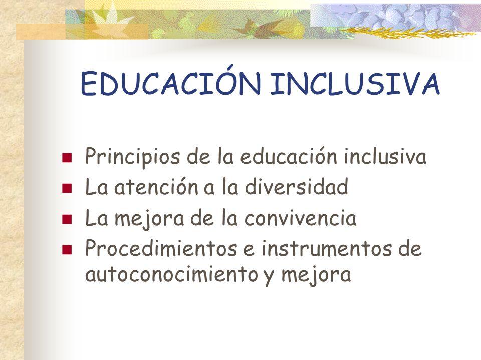 EDUCACIÓN INCLUSIVA Principios de la educación inclusiva La atención a la diversidad La mejora de la convivencia Procedimientos e instrumentos de auto