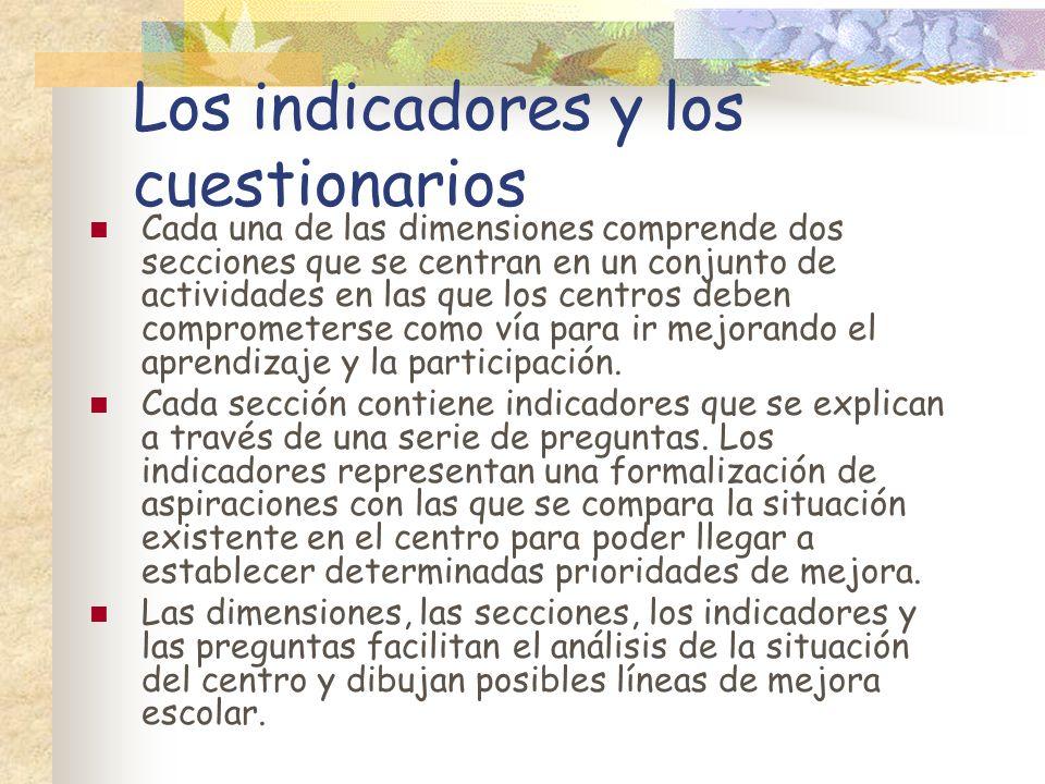 Los indicadores y los cuestionarios Cada una de las dimensiones comprende dos secciones que se centran en un conjunto de actividades en las que los ce