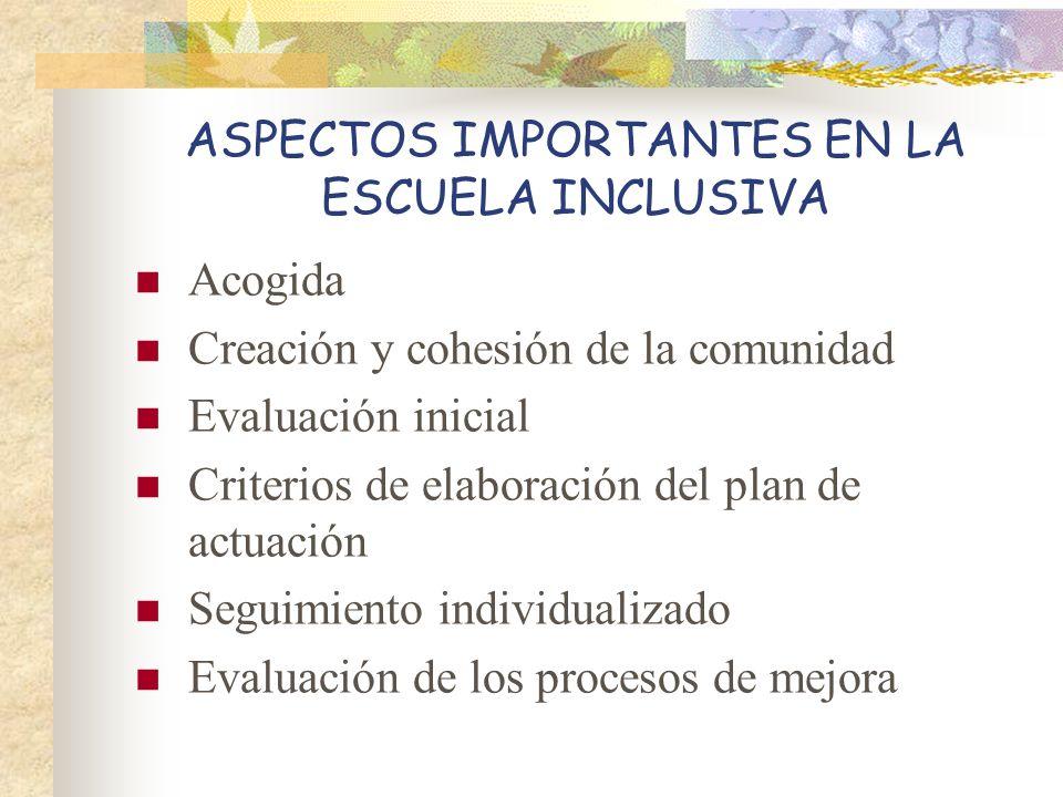 ASPECTOS IMPORTANTES EN LA ESCUELA INCLUSIVA Acogida Creación y cohesión de la comunidad Evaluación inicial Criterios de elaboración del plan de actua