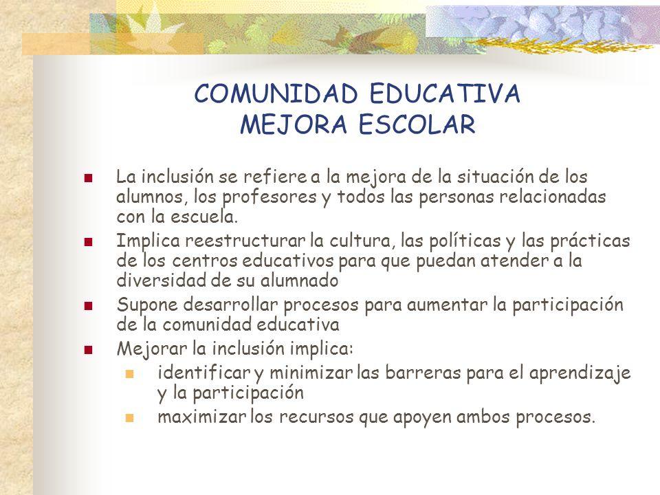 COMUNIDAD EDUCATIVA MEJORA ESCOLAR La inclusión se refiere a la mejora de la situación de los alumnos, los profesores y todos las personas relacionada
