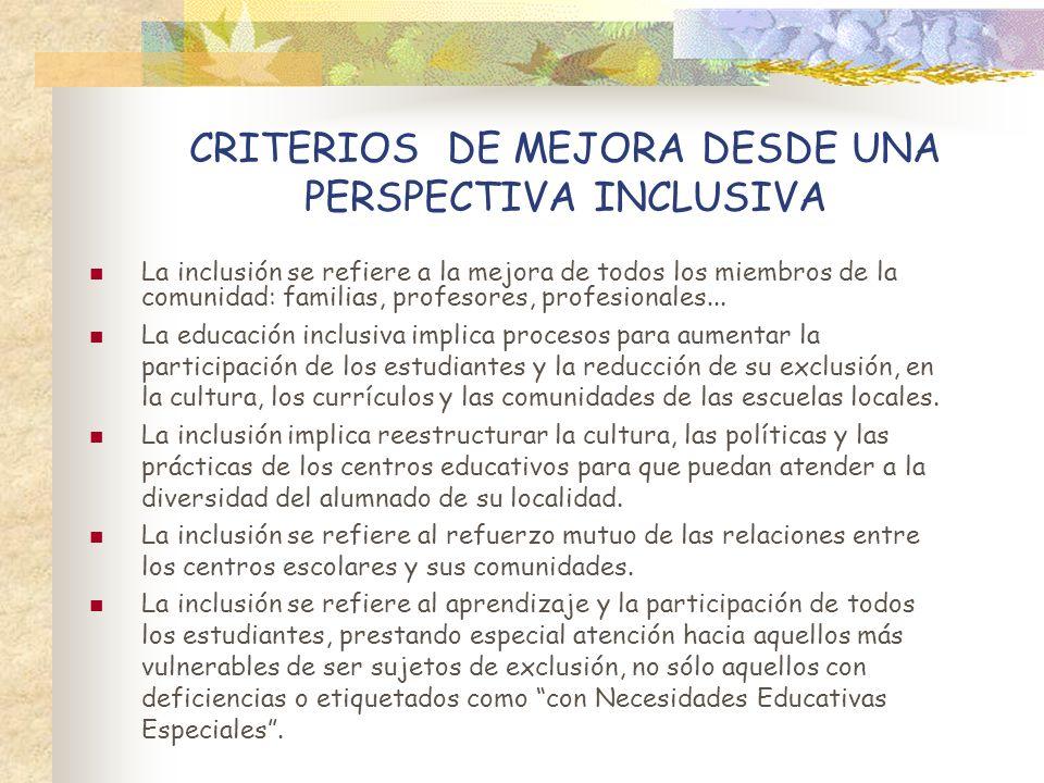 CRITERIOS DE MEJORA DESDE UNA PERSPECTIVA INCLUSIVA La inclusión se refiere a la mejora de todos los miembros de la comunidad: familias, profesores, p