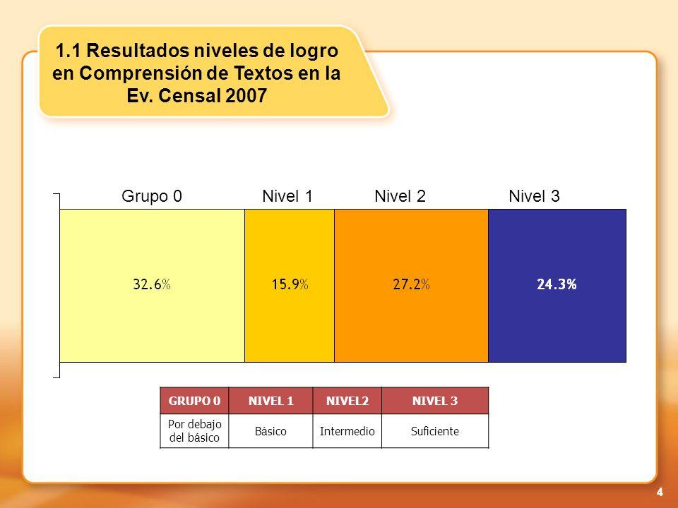 15 3.2 Resultados en Comunicación-2008 Grupo 0 Nivel 1 Nivel 2Nivel 3 GRUPO 0NIVEL 1NIVEL2NIVEL 3 Por debajo del b á sico B á sicoIntermedioSuficiente