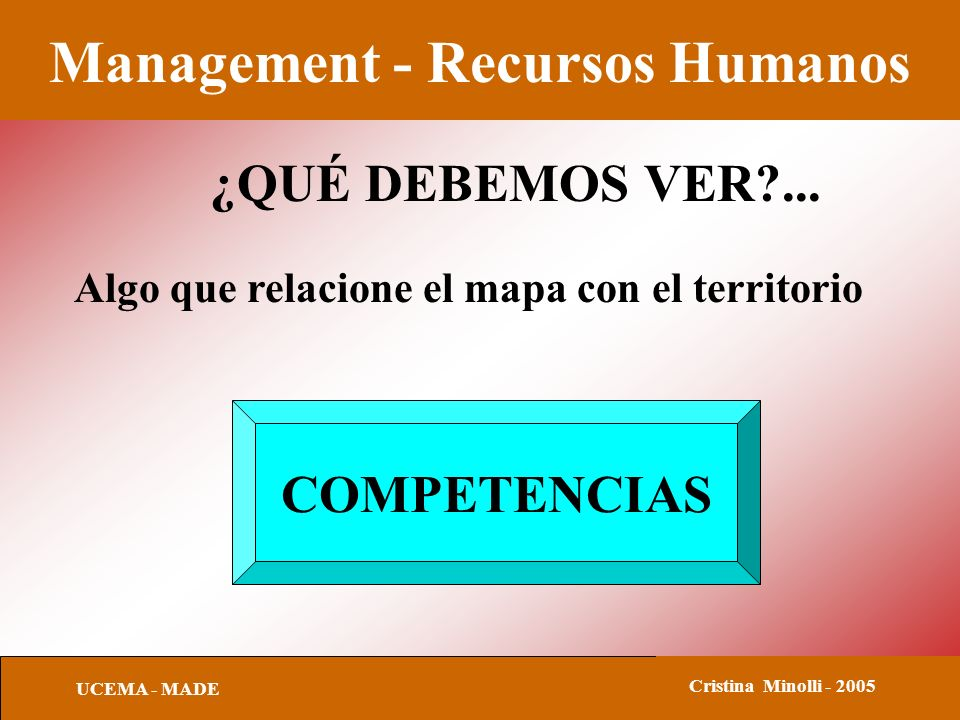 Management - Recursos Humanos UCEMA - MADE Cristina Minolli - 2005 ¿QUÉ DEBEMOS VER?...