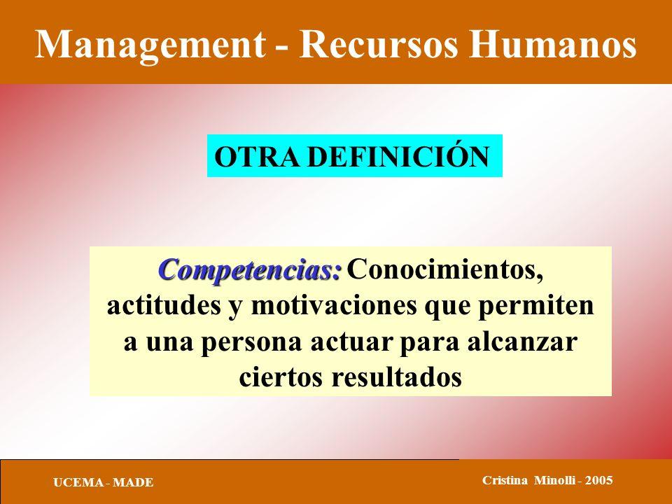 Management - Recursos Humanos UCEMA - MADE Cristina Minolli - 2005 OTRA DEFINICIÓN Competencias: Competencias: Conocimientos, actitudes y motivaciones