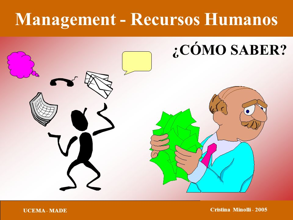 Management - Recursos Humanos UCEMA - MADE Cristina Minolli - 2005 INDICADORES CONDUCTUALES Asume riesgos de negocios calculados.