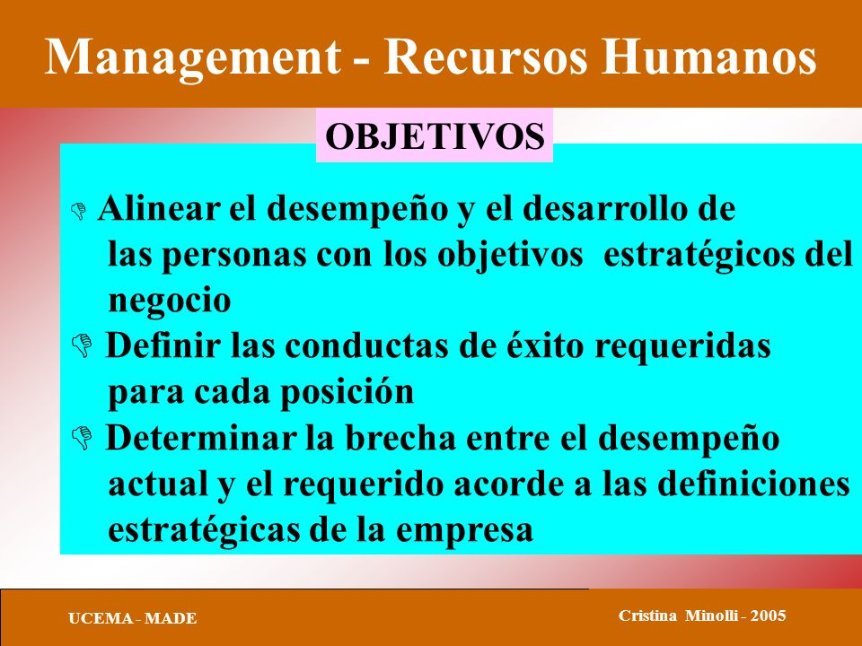 Management - Recursos Humanos UCEMA - MADE Cristina Minolli - 2005 Alinear el desempeño y el desarrollo de las personas con los objetivos estratégicos