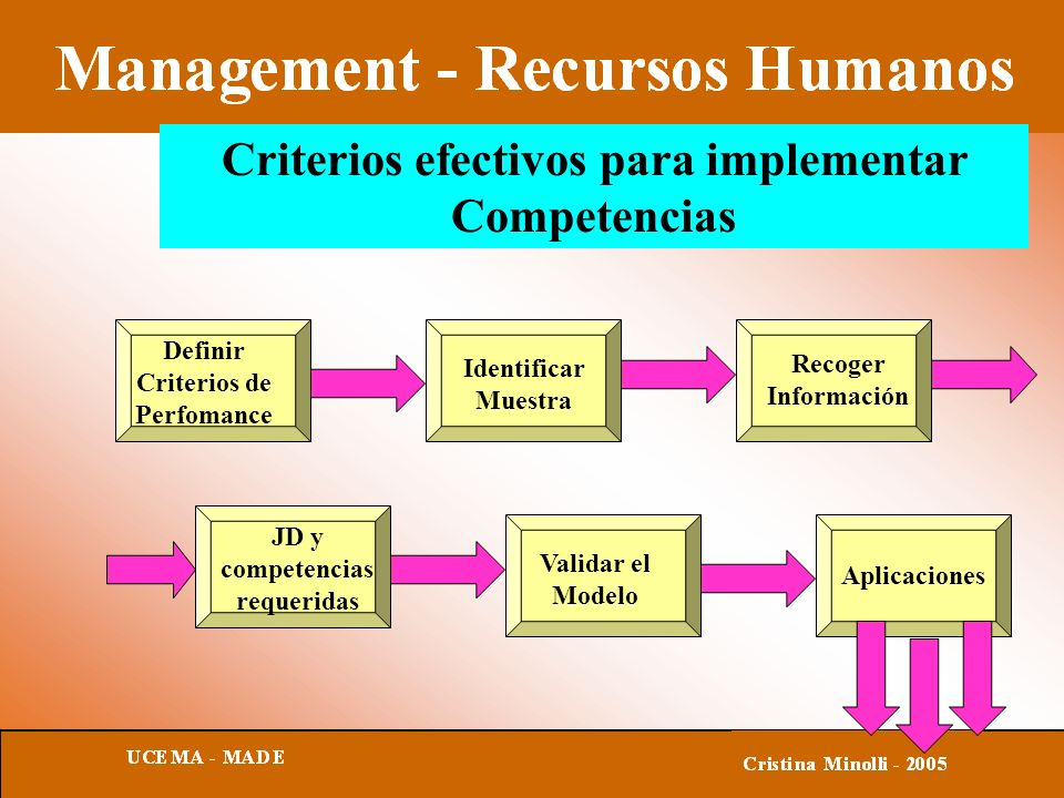 Criterios efectivos para implementar Competencias Aplicaciones Definir Criterios de Perfomance Identificar Muestra Recoger Información JD y competencias requeridas Validar el Modelo