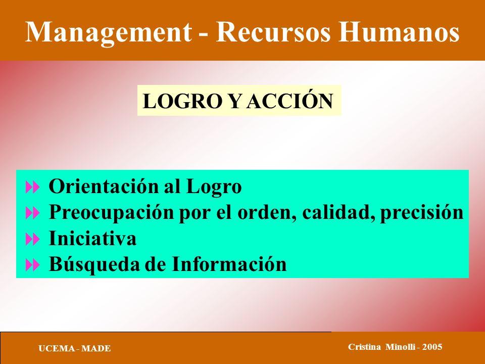 Management - Recursos Humanos UCEMA - MADE Cristina Minolli - 2005 LOGRO Y ACCIÓN Orientación al Logro Preocupación por el orden, calidad, precisión Iniciativa Búsqueda de Información