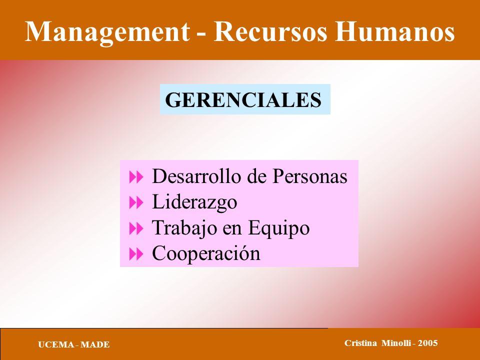 Management - Recursos Humanos UCEMA - MADE Cristina Minolli - 2005 GERENCIALES Desarrollo de Personas Liderazgo Trabajo en Equipo Cooperación