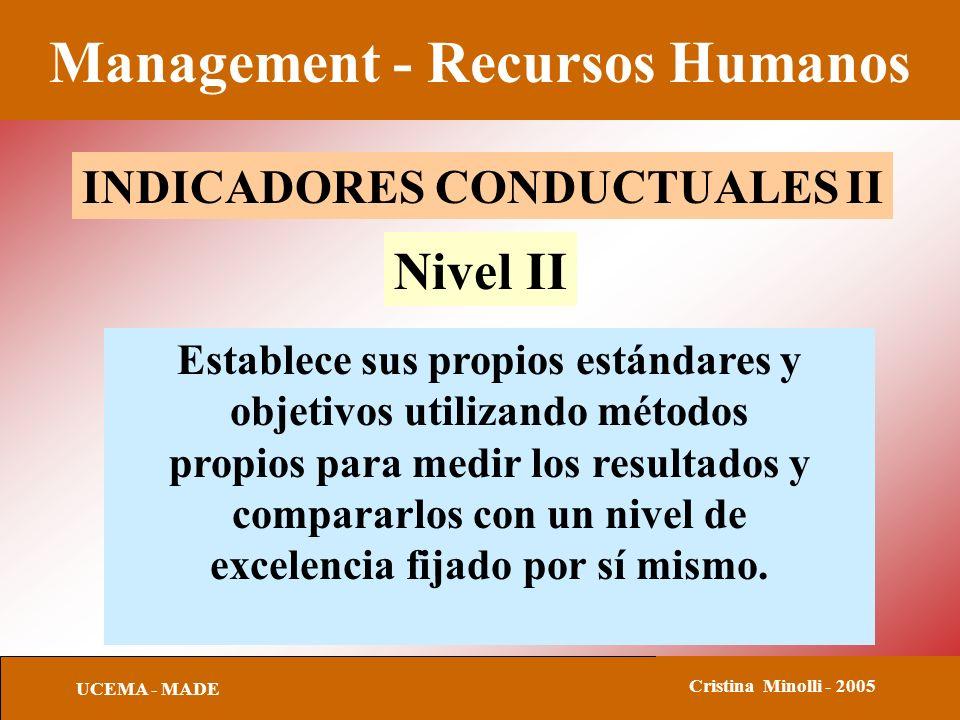 Management - Recursos Humanos UCEMA - MADE Cristina Minolli - 2005 INDICADORES CONDUCTUALES II Establece sus propios estándares y objetivos utilizando
