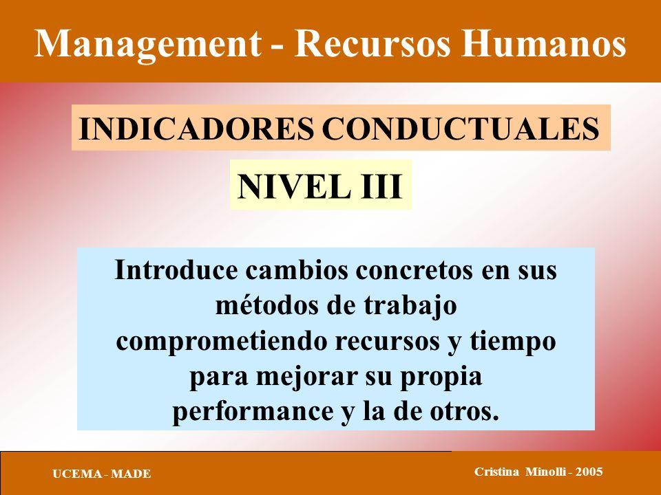Management - Recursos Humanos UCEMA - MADE Cristina Minolli - 2005 INDICADORES CONDUCTUALES NIVEL III Introduce cambios concretos en sus métodos de trabajo comprometiendo recursos y tiempo para mejorar su propia performance y la de otros.
