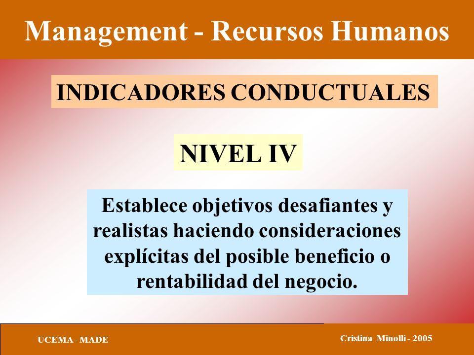 Management - Recursos Humanos UCEMA - MADE Cristina Minolli - 2005 INDICADORES CONDUCTUALES NIVEL IV Establece objetivos desafiantes y realistas hacie