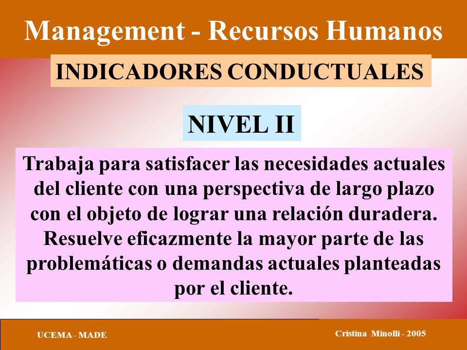 Management - Recursos Humanos UCEMA - MADE Cristina Minolli - 2005 INDICADORES CONDUCTUALES Trabaja para satisfacer las necesidades actuales del clien