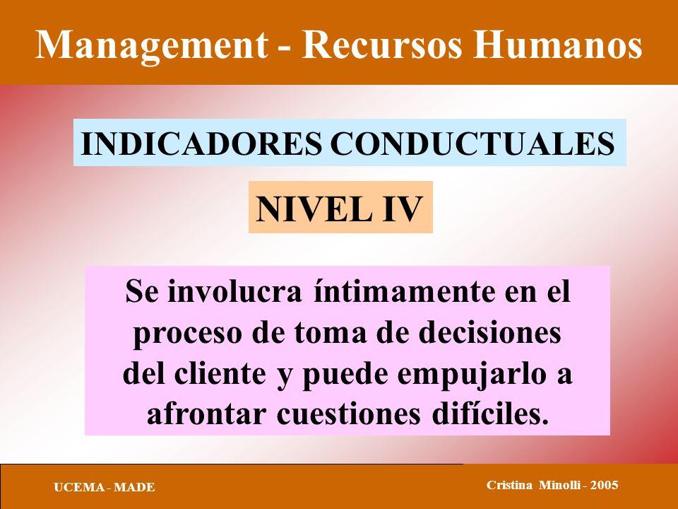 Management - Recursos Humanos UCEMA - MADE Cristina Minolli - 2005 Se involucra íntimamente en el proceso de toma de decisiones del cliente y puede empujarlo a afrontar cuestiones difíciles.
