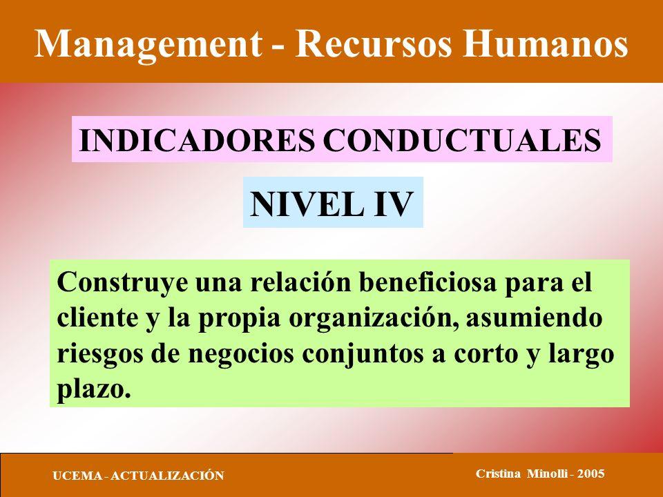Management - Recursos Humanos UCEMA - ACTUALIZACIÓN Cristina Minolli - 2005 INDICADORES CONDUCTUALES NIVEL IV Construye una relación beneficiosa para