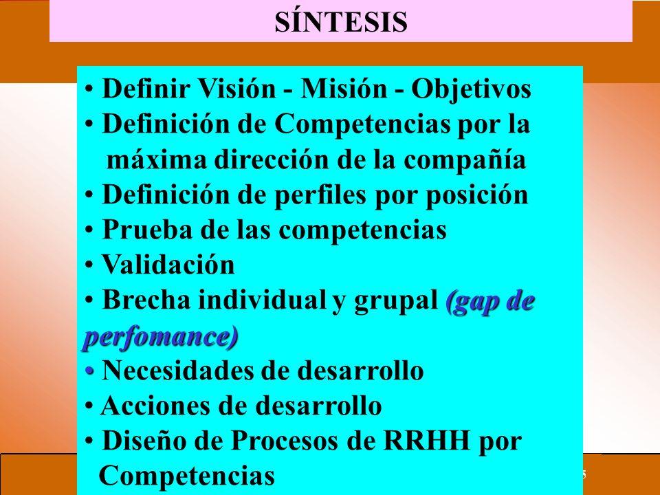 SÍNTESIS Definir Visión - Misión - Objetivos Definición de Competencias por la máxima dirección de la compañía Definición de perfiles por posición Prueba de las competencias Validación (gap de perfomance) Brecha individual y grupal (gap de perfomance) Necesidades de desarrollo Acciones de desarrollo Diseño de Procesos de RRHH por Competencias