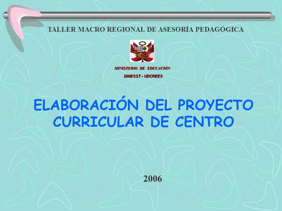 ELABORACIÓN DEL PROYECTO CURRICULAR DE CENTRO MINISTERIO DE EDUCACIÓN DINESST - UDCREES TALLER MACRO REGIONAL DE ASESORÍA PEDAGÓGICA 2006