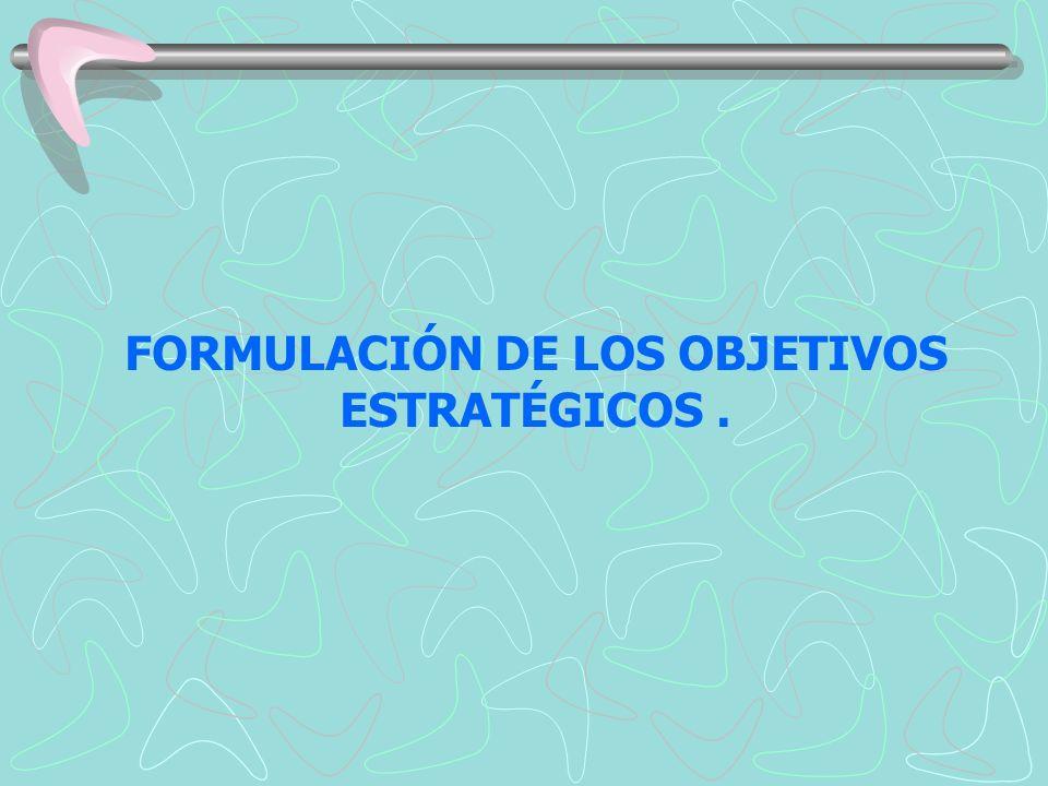 FORMULACIÓN DE LOS OBJETIVOS ESTRATÉGICOS.