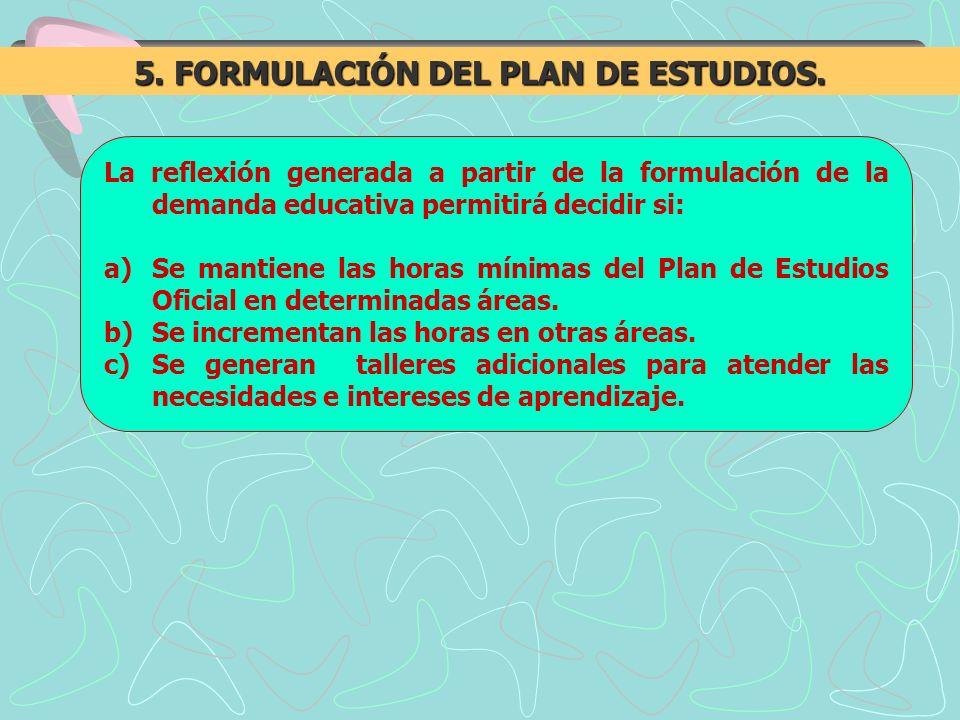La reflexión generada a partir de la formulación de la demanda educativa permitirá decidir si: a)Se mantiene las horas mínimas del Plan de Estudios Of