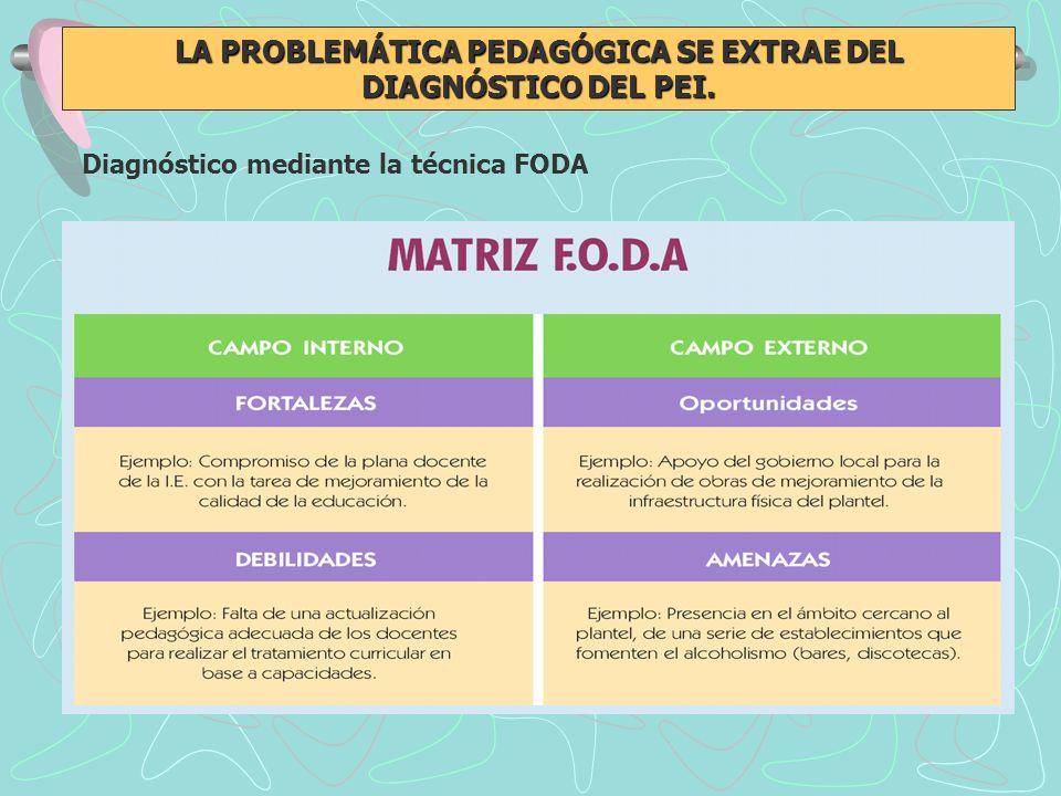 LA PROBLEMÁTICA PEDAGÓGICA SE EXTRAE DEL DIAGNÓSTICO DEL PEI. Diagnóstico mediante la técnica FODA